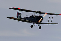 Historic De Haviland Tigher Moth in Norwegian colors performs a fly by at Rygge Airshow. Norway