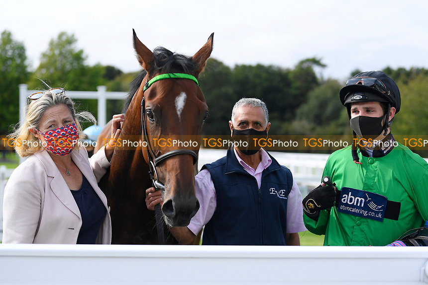 Winner of The Radcliffe & Co Novice Median Auction Stakes (Div 1) Tornadic ridden by Charles Bishop and trained by Eve Johnson Houghton in the Winners enclosure  during Horse Racing at Salisbury Racecourse on 11th September 2020