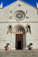 The Gothic facade of the church of St. Benedict, before the 2106 earthquake, Piazza San Benedetto, Norcia, Umbria, Italy