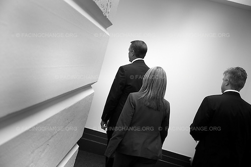 Photographer: Lucian Perkins/Facing Change: Documenting America.Washington,  DC.April 8, 2010..Caption: Speaker of the House John Boehner departs to another key meeting with the House's GOP leadership.