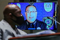 Houston Police Chief Art Acevedo (R) gives his opening statement as George FloydÌs brother Philonise Floyd (L) listens during the House Judiciary Committee hearing on ÎPolicing Practices and Law Enforcement AccountabilityÌ at the US Capitol in Washington, DC, USA, 10 June 2020. The hearing comes after the death of George Floyd while in the custody of officers of the Minneapolis Police Department and the introduction of the Justice in Policing Act of 2020 in the US House of Representatives.<br /> Credit: Michael Reynolds / Pool via CNP/AdMedia