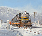 """A Southern Pacific Railroad high nose diesel working switching duty in winter snow. Oil on canvas, 12"""" x 14""""."""
