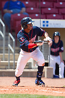Cedar Rapids Kernels outfielder Byron Buxton #7 attempts to bunt for a hit during a game against the Lansing Lugnuts at Veterans Memorial Stadium on April 30, 2013 in Cedar Rapids, Iowa. (Brace Hemmelgarn/Four Seam Images)