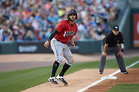 Kevin Kramer (17) of the Indianapolis Indians takes his lead off of third base against the Charlotte Knights at BB&T BallPark on April 27, 2019 in Charlotte, North Carolina. The Indians defeated the Knights 8-4. (Brian Westerholt/Four Seam Images)