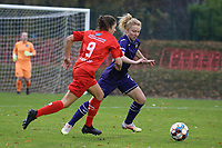 Kenza Vrithof (9 Woluwe) and Charlotte Tison (20 Anderlecht) in action during a female soccer game between FC Femina WS Woluwe and RSC Anderlecht Women on the eight match day of the 2020 - 2021 season of Belgian Women's Super League , Sunday 22nd of November 2020  in Woluwe, Belgium . PHOTO SPORTPIX.BE | SPP | SEVIL OKTEM
