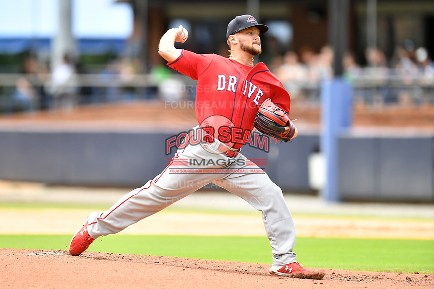 Greenville Drive starting pitcher Chase Shugart (12) delivers a pitch during a game against the Asheville Tourists on July 18, 2021 at McCormick Field in Asheville, NC. (Tony Farlow/Four Seam Images)