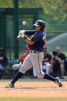 Catcher Steven Rodriguez (12) of the Atlanta Braves farm system in a Minor League Spring Training intrasquad game on Wednesday, March 18, 2015, at the ESPN Wide World of Sports Complex in Lake Buena Vista, Florida. (Tom Priddy/Four Seam Images)