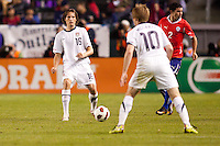 USA's Mixx Diskerud (16) moves with the ball. US Men's National team played the National team of Chile to 1-1 draw at Home Depot Center stadium in Carson, California on Saturday January 22, 2010.