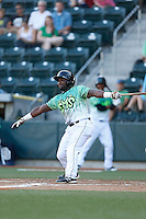 Ronnie Richardson #4 of the Eugene Emeralds bats against the Boise Hawks at PK Park on July 25, 2013 in Eugene, Oregon. Eugene defeated Boise, 5-4. (Larry Goren/Four Seam Images)