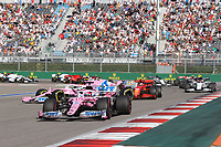 27th September 2020, Sochi, Russia; FIA Formula One Grand Prix of Russia, Race Day; #11 Sergio Perez (MEX, BWT Racing Point F1 Team) as #18 Lance Stroll (CAN, BWT Racing Point F1 Team) loses traction and crashes into the wall