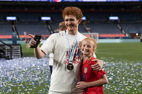 DENVER, CO - JUNE 6: Josh Sargent celebrates winning the CONCACAF Nations League Cup during a game between Mexico and USMNT at Mile High on June 6, 2021 in Denver, Colorado.