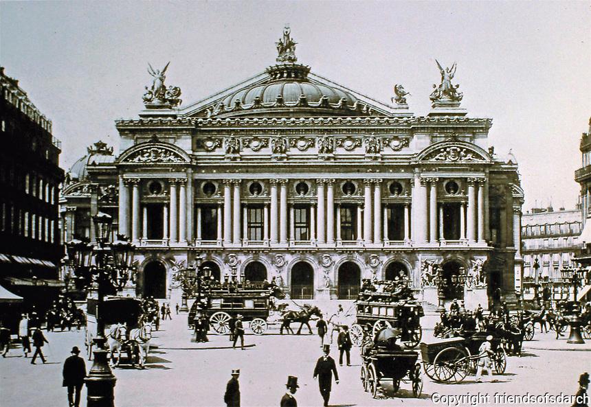 Historical photograph of The Palais Garnier or Opéra Garnier in Paris, France. Designed by Charles Garnier.