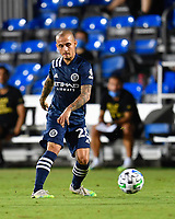 LAKE BUENA VISTA, FL - AUGUST 01: Alexandru Mitrita #28 of New York City FC passes the ball during a game between Portland Timbers and New York City FC at ESPN Wide World of Sports on August 01, 2020 in Lake Buena Vista, Florida.