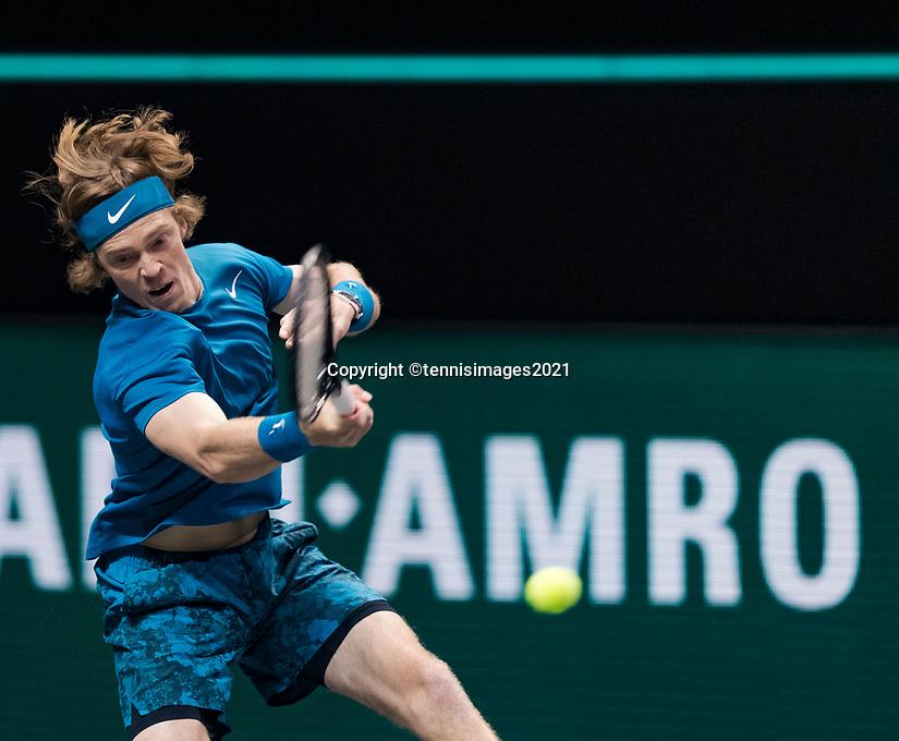 Rotterdam, The Netherlands, 28 Februari 2021, ABNAMRO World Tennis Tournament, Ahoy, First round doubles: Andrey Rublev (RUS) <br /> Photo: www.tennisimages.com/henkkoster