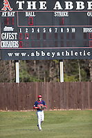 Shippensburg Raiders left fielder Grant Hoover (18) on defense against the Belmont Abbey Crusaders at Abbey Yard on February 8, 2015 in Belmont, North Carolina.  The Raiders defeated the Crusaders 14-0.  (Brian Westerholt/Four Seam Images)