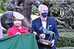 April 10, 2021:Arkansas Governor Asa Hutchison watches #1 Super Stock , ridden by Ricardo Santana, Jr. win the Arkansas Derby  with trainer Steven M. Asmussen at Oaklawn Park in Hot Springs,  Arkansas. Ted McClenning/Eclipse Sportswire/CSM