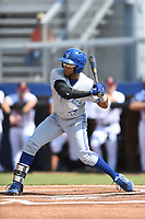 Steward Berroa (1) of the Bluefield Blue Jays at bat during a game against the Danville Braves at American Legion Post 325 Field on July 28, 2019 in Danville, Virginia. The Blue Jays defeated the Braves 9-7. (Tracy Proffitt/Four Seam Images)