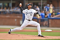Asheville Tourists starting pitcher Jesus Tinoco (34) delivers a pitch during a game against the West Virginia Power on August 7, 2015 in Asheville, North Carolina. The Power defeated the Tourists 7-5. (Tony Farlow/Four Seam Images)