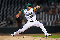 Caballeros de Charlotte relief pitcher Carson Fulmer (28) in action against the Buffalo Bisons at BB&T BallPark on July 23, 2019 in Charlotte, North Carolina. The Bisons defeated the Caballeros 8-1. (Brian Westerholt/Four Seam Images)