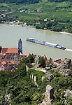 Austria, Lower Austria, UNESCO World Heritage Wachau, view from ruin Duernstein towards wine town Duernstein with the blue-white tower of the Collegiate church