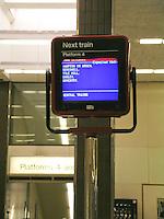 Departure sign at Birmingham International train station.