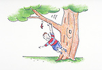 boy falls from tree