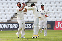 Dane Paterson of Nottinghamshire celebrates with his team mates after taking the wicket of Simon Harmer during Nottinghamshire CCC vs Essex CCC, LV Insurance County Championship Group 1 Cricket at Trent Bridge on 9th May 2021