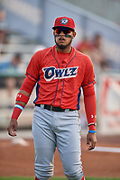 Kevin Maitan (9) of the Orem Owlz before a game against the Ogden Raptors at Lindquist Field on August 4, 2018 in Ogden, Utah. The Owlz defeated the Raptors 15-12. (Stephen Smith/Four Seam Images)