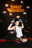 NO REPRO FEE. 20/9/2010. Game On Exhibition. Georgia Salpa is pictured dressed as Lara Croft  for the opening of the Game On Exhibition at Dublin's Ambassador Theatre. Game On is an action packed gaming exhibition with fun for all the family. Enjoy a totally interactive experience with rare memorabilia and play your way through over 120 playable games from the arcade classics to the latest releases. Now running at the Ambassador Theatre for a limited run. Tickets from 10 euro including booking fee on sale now See Ticketmaster.ie and Gameon-Dublin.ie for family and group discounts plus more details. Picture James Horan/Collins Photos