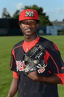 Batavia Muckdogs pitcher Domingo German (40) poses for a photo before a game against the Williamsport Crosscutters on September 4, 2013 at Dwyer Stadium in Batavia, New York.  Williamsport defeated Batavia 6-3 in both teams season finale.  (Mike Janes/Four Seam Images)