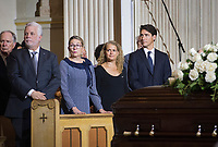 Quebec Premier Philippe Couillard, left to right, wife Suzanne Pilote, Governor General Julie Payette and Prime Minister Justin Trudeau attend the funeral of Paul Gerin-Lajoie in Montreal, Thursday, August 9, 2018. THE CANADIAN PRESS/Graham Hughes