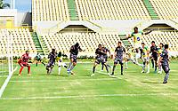 CARTAGENA-COLOMBIA, 04-10-2020: Real Cartagena y Tigres F. C., durante partido por la fecha 10 del Torneo BetPlay DIMAYOR I 2020 en el estadio Jaime Moron Leon de la ciudad de Cartagena. / Real Cartagena and Tigres F. C., during a match for the 10th date of the BetPlay DIMAYOR I 2020 tournament at the Jaime Moron Leon stadium in Cartagena city. / Photo: VizzorImage / Javier Garcia / Cont.