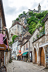 View of the main street in the village of Rocamadour, France. The château is visible in the upper right corner.