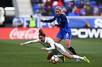 Harrison, NJ - Saturday, March 04, 2017: Lina Magull, Amandine Henry during a SheBelieves Cup match between the women's national teams of France (FRA) and Germany (GER) at Red Bull Arena.