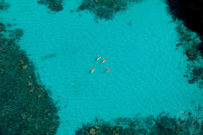 SPECTACULAR AERIAL OF PINCHERS LAGOON WITH A GROUP OF KAYAKS PALAU, MICRONESIA