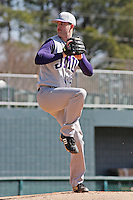 Sean Tierney of James Madison University pitching during  a game against UC Irvine at the Baseball at the Beach Tournament held at BB&T Coastal Field in Myrtle Beach, SC on February 28, 2010.