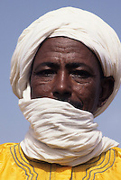 Niger - Tuareg Man, Veil Covering Mouth as is the Tuareg Custom.