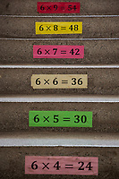 """Serbia. Zitkovac is a village in Central Serbia situated in the municipality of Aleksinac, in the Nišava District. «Vuk Karadzic» Elementary School. Arithmetic rules on stairs. Students can learn multiplications while climbing floors at school. Multiplication (often denoted by the cross symbol """"×"""") is one of the four elementary mathematical operations of arithmetic. The school's students are from Serbian and Romani ethnicity. The Romani (also spelled Romany) or Roma, Roms or Gypsies, are a traditionally itinerant ethnic group. The Pestalozzi Children's Foundation (Stiftung Kinderdorf Pestalozzi) is advocating access to high quality education for underprivileged children. It supports in Zitkovac a project called» Together in transition».19.4.2018 © 2018 Didier Ruef for the Pestalozzi Children's Foundation"""