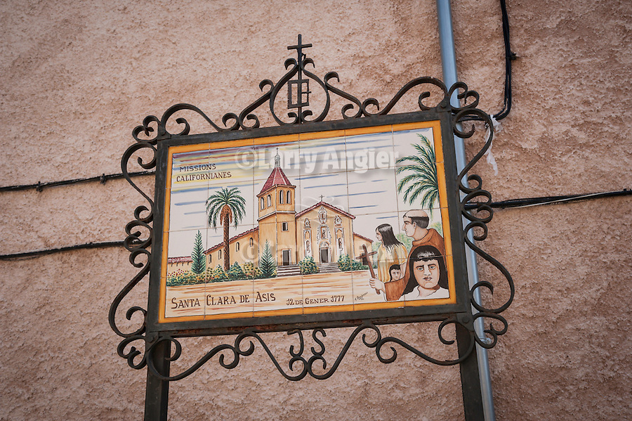 TIles depicting the California Missions near the museum and home of Junipero Serra,b. 1713,  founder of the California Missions. Petra, Mallorca..Canta Clara de Asis