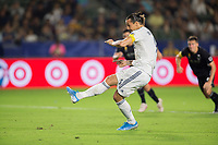 CARSON, CA - SEPTEMBER 15: Zlatan Ibrahimovic #9 of the Los Angeles Galaxy takes a PK during a game between Sporting Kansas City and Los Angeles Galaxy at Dignity Health Sports Park on September 15, 2019 in Carson, California.
