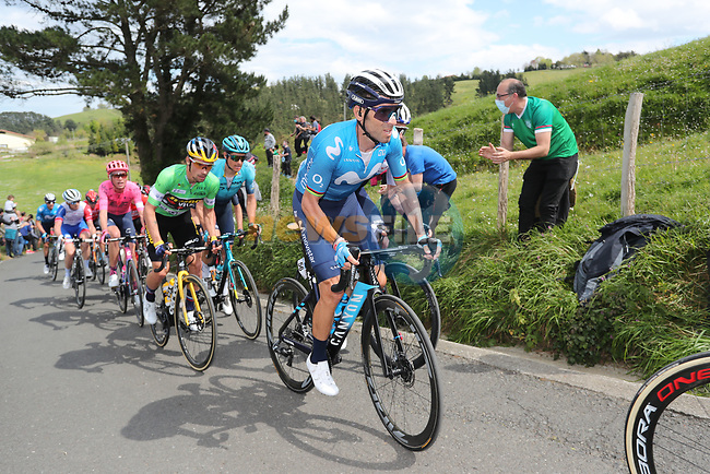 Alejandro Valverde (ESP) Movistar Team and Green Jersey Primoz Roglic (SLO) Team Jumbo-Visma during Stage 6 of the Itzulia Basque Country 2021, running 111.9km from Ondarroa to Arrate, Spain. 10th April 2021.  <br /> Picture: Luis Angel Gomez/Photogomezsport | Cyclefile<br /> <br /> All photos usage must carry mandatory copyright credit (© Cyclefile | Luis Angel Gomez/Photogomezsport)
