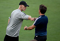 LOS ANGELES, CA - AUGUST 22: Head coaches Bob Bradley of LAFC and Guillermo Barros Schelotto of the LA Galaxy congratulate each other after the match during a game between Los Angeles Galaxy and Los Angeles FC at Banc of California Stadium on August 22, 2020 in Los Angeles, California.