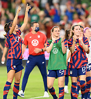 AUSTIN, TX - JUNE 16: Alex Morgan #13 of the United States,  Andi Sullivan #25, and Tierna Davidson #12 applaud the fans after a game between Nigeria and USWNT at Q2 Stadium on June 16, 2021 in Austin, Texas.