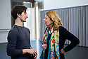 London, UK. 23.04.2015. New English Ballet Theatre rehearses in the studio at Rambert, for their forthcoming triple bill. Picture shows: Choreographer of ORBITAL MOTION, Valentino Zucchetti, and NEBT Founder, Karen Pilkington-Miksa, in conversation. Photograph © Jane Hobson.
