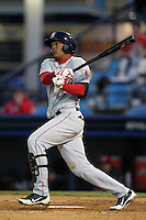 Portland Seadogs first baseman Reynaldo Rodriguez #16 during a game against the Reading Phillies at FirstEnergy Stadium on April 7, 2012 in Reading, Pennsylvania.  Reading defeated Portland 4-1.  (Mike Janes/Four Seam Images)