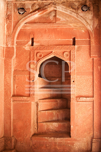 Agra, Utar Pradesh, India. Red sandstone detail from the Mughal Agra Fort. Stairway.