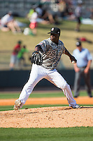 Birmingham Barons relief pitcher Onelki Garcia (25) in action against the Tennessee Smokies at Regions Field on May 3, 2015 in Birmingham, Alabama.  The Smokies defeated the Barons 3-0.  (Brian Westerholt/Four Seam Images)