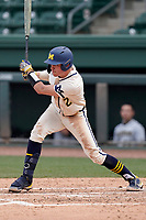 Shortstop Benjamin Sems (2) of the Michigan Wolverines bats in a game against the Purdue Boilermakers on Friday, March 12, 2021, at Fluor Field at the West End in Greenville, South Carolina. (Tom Priddy/Four Seam Images)