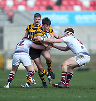 Tuesday 3rd March 2020 | RSA vs RBAI<br /> <br /> RBAI centre Oscar Lowe is tackled by Ross Taylor and Nicholas Bothwell during the Ulster Schools' Cup Semi-Final between Royal School Armagh and RBAI at Kingspan Stadium, Ravenhill Park, Belfast, Northern Ireland. Photo by John Dickson / DICKSONDIGITAL