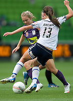 MELBOURNE, AUSTRALIA - DECEMBER 18: Marianna TABAIN of the Glory and Ashley Brown of the Victory compete for the ball during the round 7 W-League match between the Melbourne Victory and the Perth Glory at AAMI Park on December 18, 2010 in Melbourne, Australia. (Photo Sydney Low / asteriskimages.com)